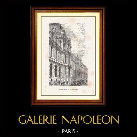 Vista de Paris - Monumentos Históricos de Paris - Biblioteca do Louvre | Gravura em madeira original desenhada por Parent. 1867