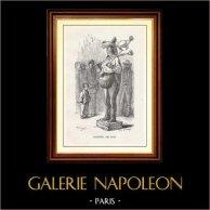 Synhåll - Historiska Platserna och Monumenten i Paris - Gatasångare | Original trästick efter teckningar av L. Flameng. 1867