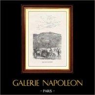 Vue de Paris - Monuments Historiques de Paris - Patinage sur Glace - Club des Patineurs | Gravure sur bois originale gravée par H. Boetzel. 1867