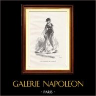 Synhåll - Historiska Platserna och Monumenten i Paris - Mode - 1800-talet - Parisian Kvinna (Bal Mabille) | Original trästick graverade av Boetzel. 1867