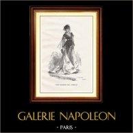 View of Paris - Historical Monuments of Paris - Mode - 19th Century Parisian Women's Fashion (Ball - Bal Mabille) | Original wood engraving engraved by Boetzel. 1867