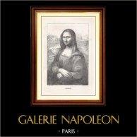 Museo del Louvre - Renacimiento Italiano - La Gioconda, conocido también como La Mona Lisa (Leonardo da Vinci) | Original grabado en madera dibujado por Gaillard según L. Da vinci, grabado por Hotelin. 1867