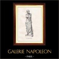 Museo del Louvre - Antigua Grecia - Venus de Milo - La Afrodita de Milos | Original grabado en madera dibujado por Gaillard, grabado por Hurel. 1867