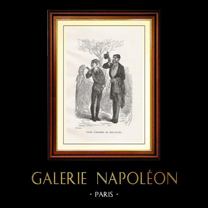Antique Prints & Drawings | View of Paris - Historical Monuments of Paris - Mode - 19th Century Parisian Men's Fashion | Wood engraving | 1867