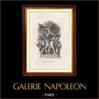 Pariser Triumphbogen - Le Départ des Volontaires - La Marseillaise - Der Auszug der Freiwilligen (François Rude)   Original holzstich gezeichnet von J.B. Delestre nach F. Rude. 1867