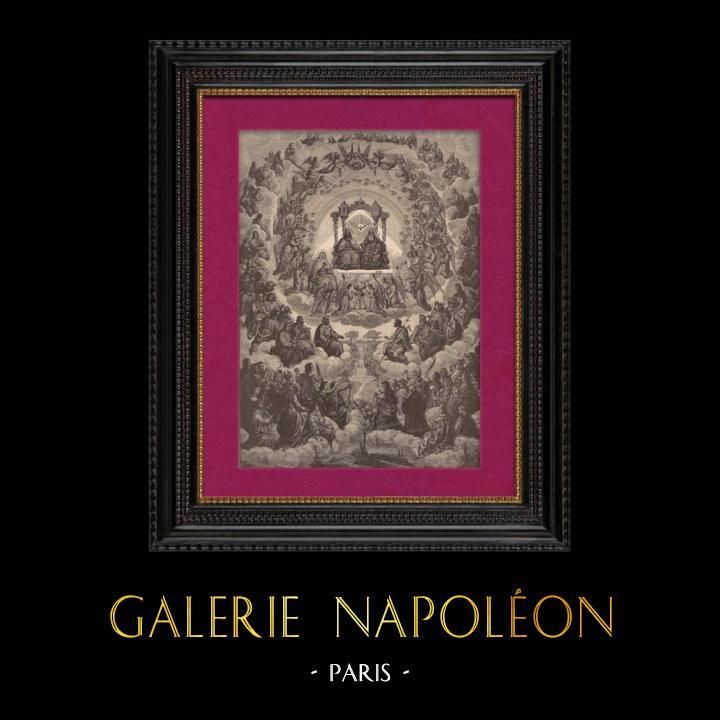 Gravures Anciennes & Dessins   Le Paradis - Dieu - La Sainte Vierge Marie - Jésus Christ   Gravure sur bois   1891