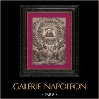 Il Paradiso - Dio - Sacratissima Vergine Maria - Gesù | Incisione xilografica originale incisa da Peulot. 1891