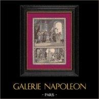 L'Archange Raphaël Réclame à Gabélus une Somme d'Argent | Gravure sur bois originale. Anonyme. 1891
