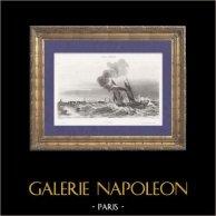 Corvette - Voilier à Vapeur en Mer au large de Calais (France) | Gravure sur acier originale dessinée par A.L. Garneray, gravée par Rouargue. 1842