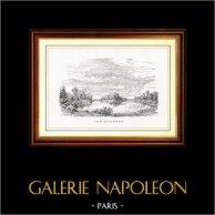 Vue de Paris - Lac du Bois de Boulogne | Gravure sur bois originale dessinée par M. Lalanne, gravée par C. Maurano. 1867