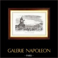 Vista de París - Molino de Viento - Carrera de Caballos del Bois de Boulogne | Original grabado en madera dibujado por E. Morin, grabado por E. Lefebvre. 1867