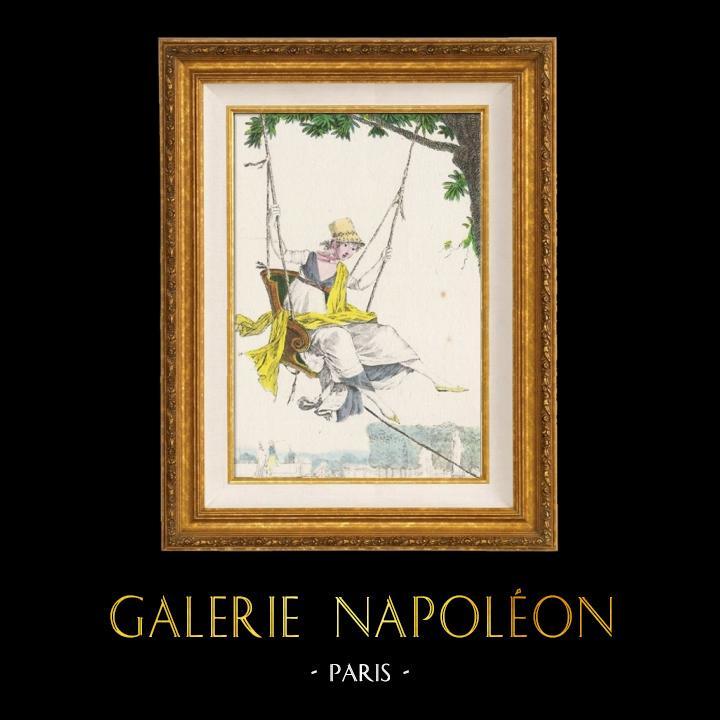 Gravures Anciennes & Dessins   Gravure de Mode Française - Romantisme - Chapeau de Paille Brodé sans Rubans - L'Escarpolette   Gravure   1930