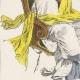 DÉTAILS 05   Gravure de Mode Française - Romantisme - Chapeau de Paille Brodé sans Rubans - L'Escarpolette