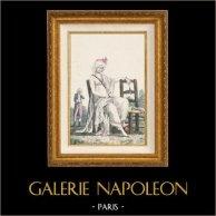 Gravure de Mode Française - Romantisme - Bonnet du Matin et Châle Transparent - Chaise Vacante