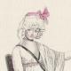 DÉTAILS 04   Gravure de Mode Française - Romantisme - Bonnet du Matin et Châle Transparent - Chaise Vacante