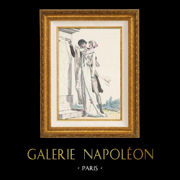Gravures Anciennes & Dessins | Gravure de Mode Française - Romantisme - Robe Croisée - La Phrase Changée | Gravure | 1930