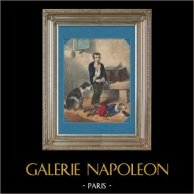 Montmartre - Organetto di Barberia - Il Bambino, il Cane ed il Ratto | Litografia originale. Firmata. Colorata a mano d'epoca. c1800