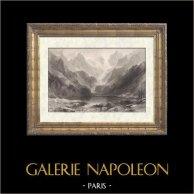 Il Lago di Gaube sui Pirenei - Cauterets (Francia) | Incisione su acciaio originale disegnata da T. Allom, incisa da J.C. Bently. 1841