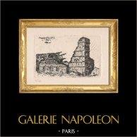 Foncquevillers - Nord-Pas-de-Calais (France) | Gravure originale dessinée par A. Copieux. Signée. Numérotée 38/150. 1916