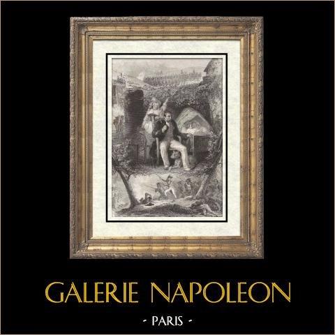 Il Vecchio Sergente di Napoleone | Incisione su acciaio originale disegnata da Charlet et Pauquet, incisa da P.J. Vallot. 1836