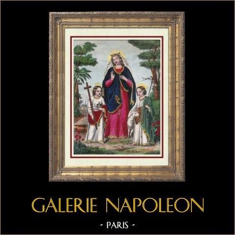 La Sainte Vierge, Jésus et Saint Jean Baptiste | Lithographie originale lithographiée par M.L. Vayron. Aquarellée à la main (coloris d'époque). 1840