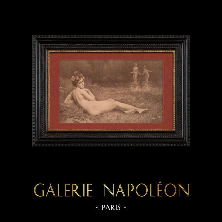 Gravures Anciennes & Dessins | Nu Artistique - Nu Féminin - Érotisme - Plaisir d'Été (Henri Guinier) | Lithographie | 1901