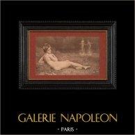 Nu Artistique - Nu Féminin - Érotisme - Plaisir d'Été (Henri Guinier) | Lithographie originale lithographiée par A. Vignola d'après H. Guinier. 1901