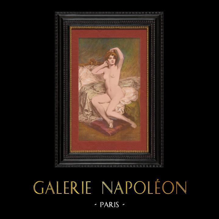 Gravures Anciennes & Dessins   Nu Artistique - Nu Féminin - Érotisme - Le Lever (Etienne Joannon-Navier)   Lithographie   1901