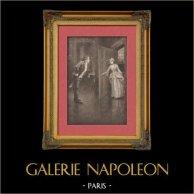 Romantisme - Scène Galante dans un Chateau | Gravure sur soie originale dessinée par F. Gordon. 1895