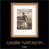 Orientalisme - Chef Arabe (Eugène Delacroix) | Photogravure originale. Anonyme d'après E. Delacroix. imprimée par G. Petit. 1890
