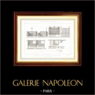 Dibujo de Arquitecto - Arquitectura - Mercados Cubiertos de Tours (M. Guérin) | Original acero grabado grabado por G. Maurage. [Specimen]. 1870