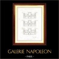 Ritning av Arkitekt - Arkitektur - Sinnessjuk Asyl av Sainte Anne i Paris (M. Questel) | Original stålstick efter teckningar av J. Japhet, graverade av G. Maurage. [Specimen]. 1870