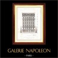 Ritning av Arkitekt - Arkitektur - Hus - Hyreshus Avenue Duquesne i Paris (M. P. Vigouroux) | Original stålstick efter teckningar av E. Japhet, graverade av Maurage fils. [Specimen]. 1870