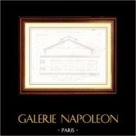 Desenho de Arquitecto - Arquitetura - Edifício Público de Grenelle em Paris (M. A. Normand) | Gravura em metal aço original. Anónima. [Specimen]. 1870