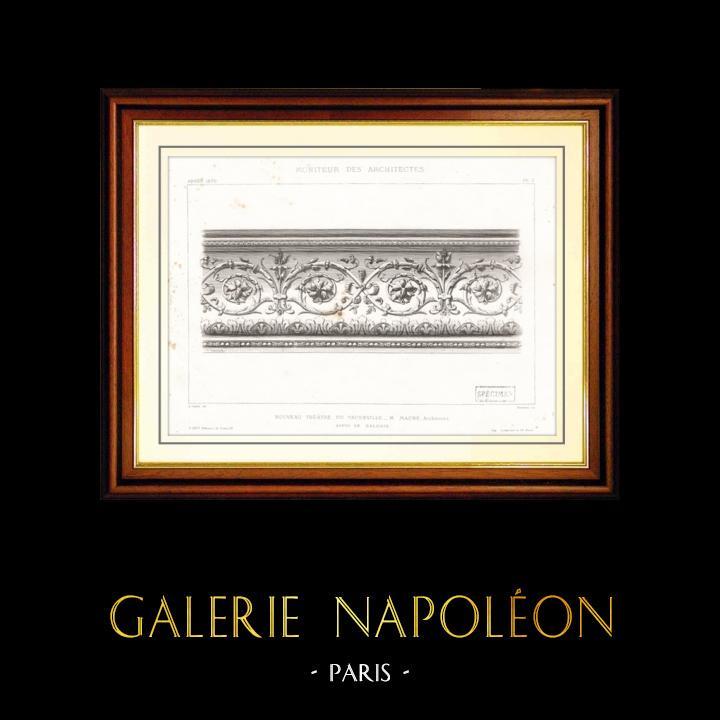 Antique Prints & Drawings   Drawing of Architect - Architecture - Theater - Théâtre du Vaudeville - Boulevard des Capucines in Paris (M. Magne)   Intaglio print   1870