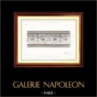 Ritning av Arkitekt - Arkitektur - Teater - Théâtre du Vaudeville - Boulevard des Capucines i Paris (M. Magne) | Original stålstick efter teckningar av E. Japhet, graverade av Bosredon. [Specimen]. 1870