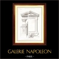 Disegno di Architetto - Architettura - Corte di Cassazione a Parigi | Incisione su acciaio originale. Anonima. [Specimen]. 1870