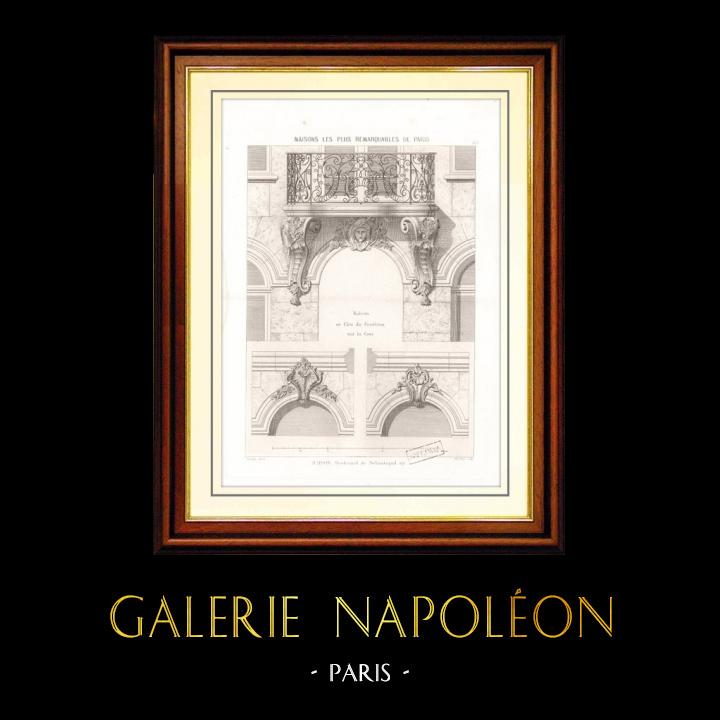 Antique Prints & Drawings   Drawing of Architect - Architecture - House - Apartment Building 117 Boulevard de Sébastopol in Paris   Intaglio print   1870