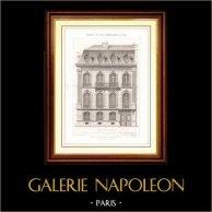 Dibujo de Arquitecto - Arquitectura - Casa - Edificio - Hôtel Rond Point des Champs-Elysées (M. Victor Lenoir) | Original acero grabado dibujado por Garraud, grabado por Boudrot. [Specimen]. 1870