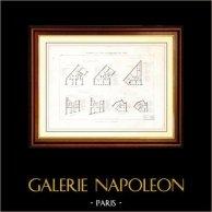 Disegno di Architetto - Architettura - Casa - Costruzione a Parigi - Boulevard Magenta (M. Sevestre) - Rue de Rennes (M. Delarue) - Avenue Villars (M.Marcel) - Rue des Halles (M. B | Incisione su acciaio originale. Anonima. [Specimen]. 1870