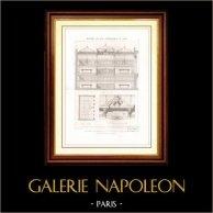 Architektenzeichnung - Architektur - Laden - 21 Rue Croix des Petits in Paris (Edmond Navarre) | Original stahlstich gezeichnet von Th. Vacquer, gestochen von Martel. [Specimen]. 1870