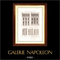 Dibujo de Arquitecto - Arquitectura - Casa - Edificio - Hôtel  73 Rue d'Amsterdam en Paris (Félix Pigeory)