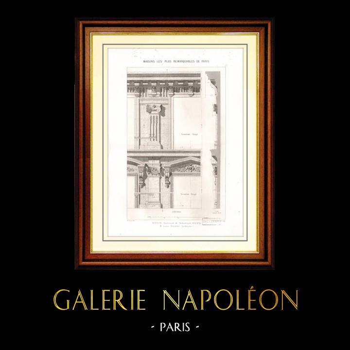 Gravures Anciennes & Dessins   Dessin d'Architecte - Architecture - Maison au 4 Boulevard de Sébastopol à Paris (Léon Rivière)   Taille-douce   1870