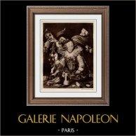 La Joyeuse Compagnie (Frans Hals) | Héliogravure originale sur papier velin d'après Frans Hals. Anonyme. 1910
