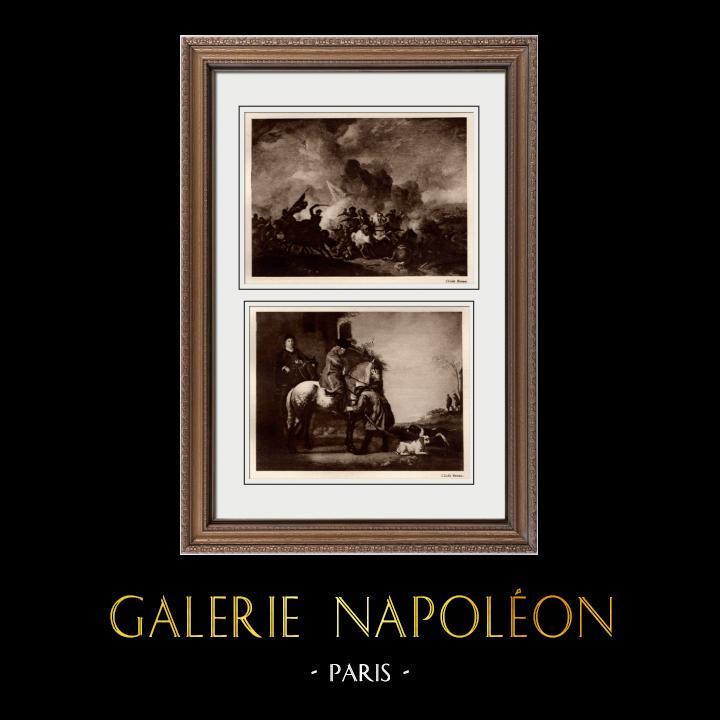 Gravures Anciennes & Dessins | Choc de Cavalerie (Philips Wouwerman) - Le Départ pour la Promenade à Cheval (Aelbert Cuyp) | Héliogravure | 1910