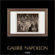 Annunciazione dell'Arcangelo Gabriele alla Vergine Maria (Simone Martini) | Incisione heliogravure originale su carta velina secondo Simone Martini. Anonima. 1910