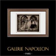 Annunciazione dell'Arcangelo Gabriele alla Vergine Maria (Fra Angelico) | Incisione heliogravure originale su carta velina secondo Fra Angelico. Anonima. 1910