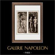 Fresco - La Expulsión de Adán y Eva del Paraíso Terrenal (Masaccio) - La Tentación de Adán y Eva (Masolino da Panicale)