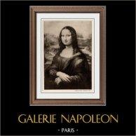 Portrait de Lisa Gherardini - La Gioconda - La Mona Lisa - La Joconde (Léonard de Vinci)   Héliogravure originale sur papier velin d'après Léonard de Vinci. Anonyme. 1910