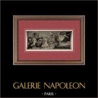 Mitologia - Affresco - L'Aurora (Guido Reni) | Incisione heliogravure originale su carta velina secondo Guido Reni. Anonima. 1910
